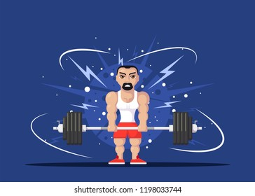 Strong man athlete doing deadlift excercise in gym. Gym workout concept. Flat style character design.