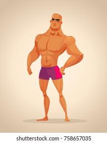 Strong man bodybuilder character. Vector cartoon illustration