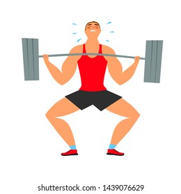 Strong man with heavy barbell struggle doing exercise. Sport and healthy lifestyle illustration for your design.