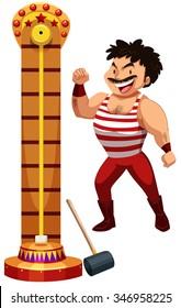Strong man at the hitting game illustration