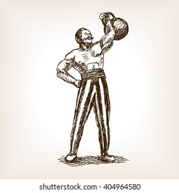Strong man with kettlebell sketch style vector illustration. Old hand drawn engraving imitation. Muscle man and kettlebell on circus