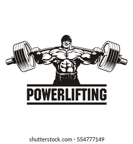 strong man lifting weight, powerlifting, vector illustration