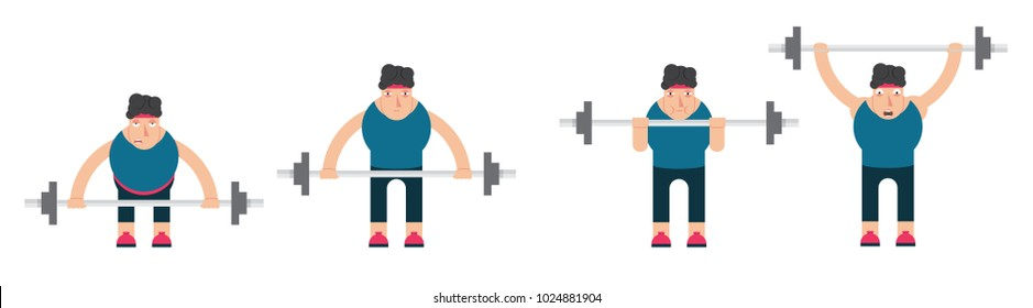 strong man lifting a weight,heavy sports equipment,athlete and barbell,vector image, cartoon character