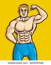 strong man with power body cartoon vector