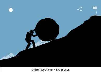 A strong man pushing a big rock up the hill to reach the goal on top. Vector artwork depicting hard work, challenge, mission, and accomplishment.