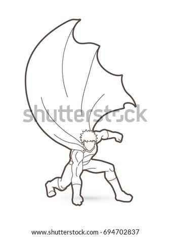 strong man superhero landing powerful action stock vector royalty