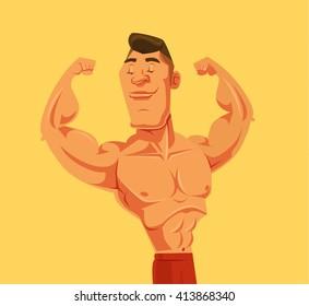 Strong man. Vector flat cartoon illustration