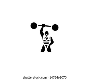 Strong man vector isolated flat illustration. Strong man icon