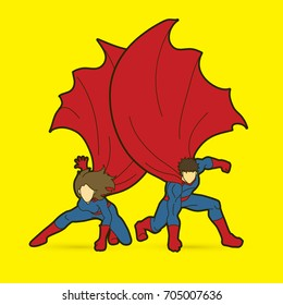 Strong Man and Woman, Couple Superhero landing powerful action graphic vector.