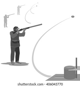 strong man's hobby man shoots at a flying clay pigeons with a rifle. sneakers on the feet, on the head cap