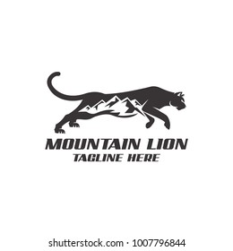 Strong mountain lion with negative space concept