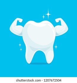 Strong Muscle Healthy Tooth iSolated on Blue Background. Cartoon Character for Dentistry Design Concept Vector Illustration