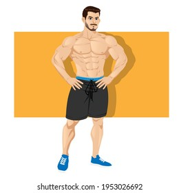 Strong and muscular bodybuilder standing isolated on white background. Muscleman character wearing shorts. Weightlifting, powerlifting or bodybuilding. Vector illustration