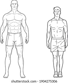 Strong and muscular man next to thin man, made in vector only with lines