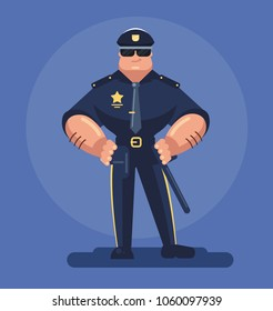 Strong muscular man security police officer cop character mascot with serious face expression standing and holding gun. Security authority justice low service policeman concept. Vector flat cartoon