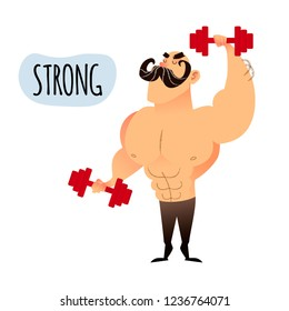 Strong muscular man working out with dumbbell weights at the gym. Healthy lifestyle concept. Bodybuilder flat male character. Funny cartoon athletic guy with mustache.