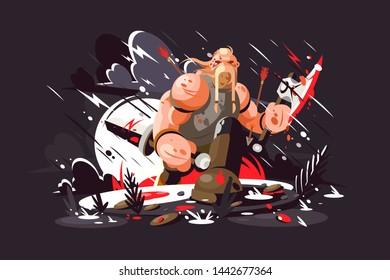Strong norse warrior vector illustration. Ruthless viking wearing armor and holding bloody sword flat style design. Man standing on battlefield. War or power concept