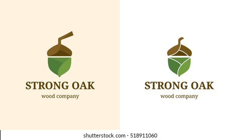 Strong Oak vector logo template. Logotype idea for nature, ecology and food business service. Acorn flat illustration for web and design.