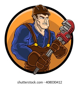 strong plumber holding wrench