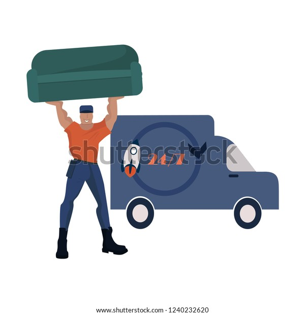 Strong Porter Carry Sofa Man Holding Stock Vector Royalty Free