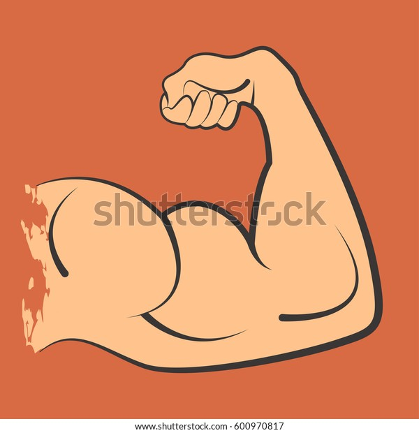 Strong power muscle arms biceps vector icon
