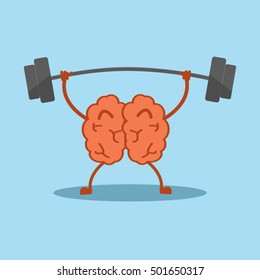 strong powerful brain holding heavy barbell