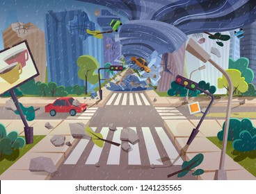 Strong powerful tornado hurricane destroying cars in city between buildings. Natural rainy disaster damaging city vector illustration concept.