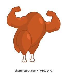 Strong roasted turkey. Powerful fried fowl. Muscular bodybuilder arms. Athletic chicken