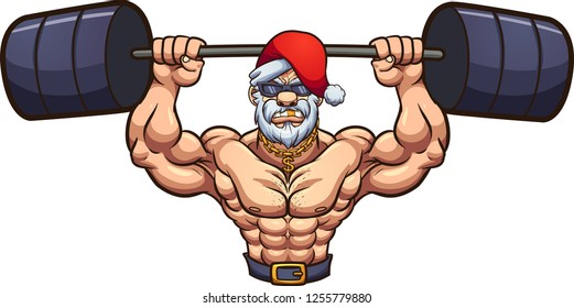 Strong Santa Claus lifting weights. Vector clip art illustration with simple gradients. Head and body on separate layers.