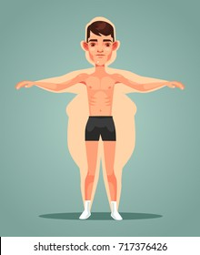 Strong slim man character locked up in fat man body. Vector flat cartoon illustration