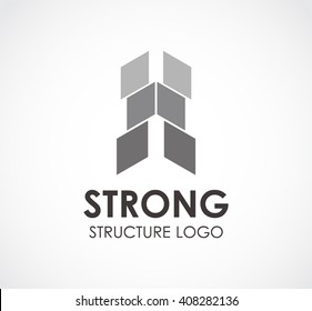 Strong of square structure abstract vector and logo design or template building business icon of company identity symbol concept