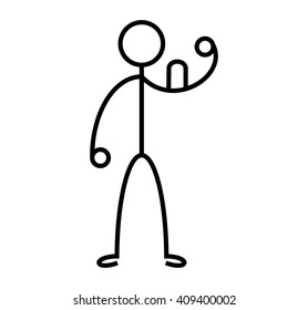 Strong stickman with muscle. Vector illustration