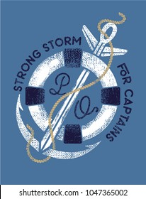 Strong storm.Nautical logo, vintage t shirt print design