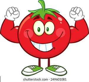 Strong Tomato Cartoon Mascot Character Flexing. Vector Illustration Isolated On White