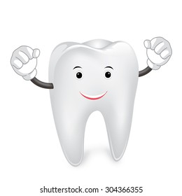 strong tooth, cartoon character, vector illustration