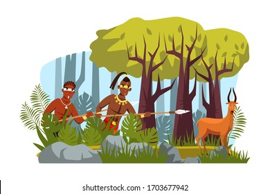 Strong tribal man warrior with spear hunting on animal in forest. Male characters with war paint on face wearing traditional clothes holding lance in bushes ambush. Tribe culture. Vector illustration
