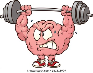 Strong weightlifting brain clip art. Vector cartoon illustration with simple gradients. All in a single layer.