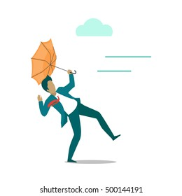 Strong wind blowing on man with umbrella and turned it out. Natural disaster. Deadly strong wind ruins everything. Hurricane damages person's life. Catastrophe caused wind. Vector illustration