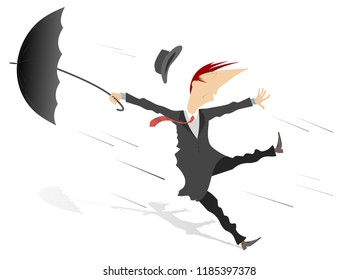 Strong wind, rain and man with umbrella isolated illustration. Whirlwind, rain and man with umbrella lost hat isolated on white illustration vector
