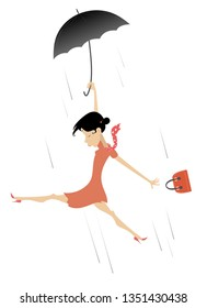 Strong wind, rain and woman with umbrella illustration. Cartoon frightened woman with umbrella and fancy bag gone with the wind isolated on white illustration