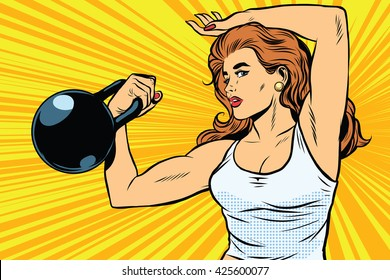 strong woman athlete with weights