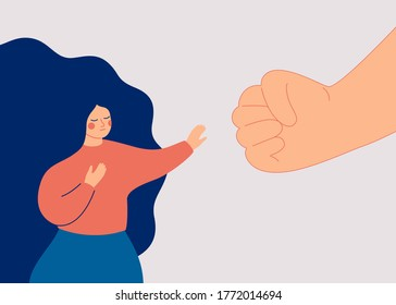 A strong woman protesting against domestic violence and female abuse. Stop violence against women. A big fist threatens a girl. Vector illustration