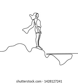 Strong women continuous one line drawing minimalist design on white background. Power of women gesture of supergirl minimalism style.