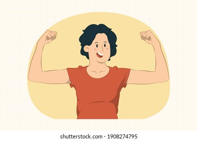 Strong young woman showing biceps, muscles concept for banner, poster, website, etc.