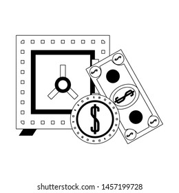 Strongbox with billet and coin isolated in black and white vector illustration