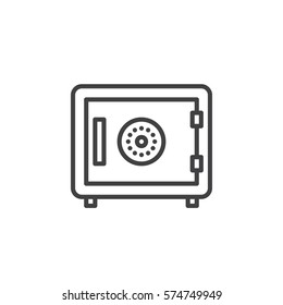 Strongbox line icon, outline vector sign, linear pictogram isolated on white. In room safe symbol, logo illustration