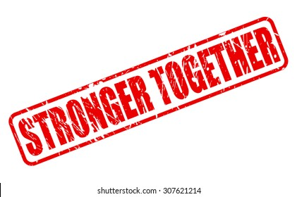 Stronger Together red stamp text on white