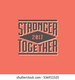 Stronger Together T-shirt Lettering Print Red