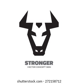 Stronger - vector logo template concept illustration. Buffalo head sign. Bull symbol. Taurus icon. Design element.