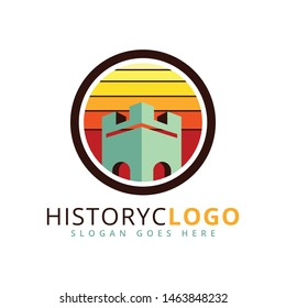 stronghold castle tower vector logo design template inside a circle